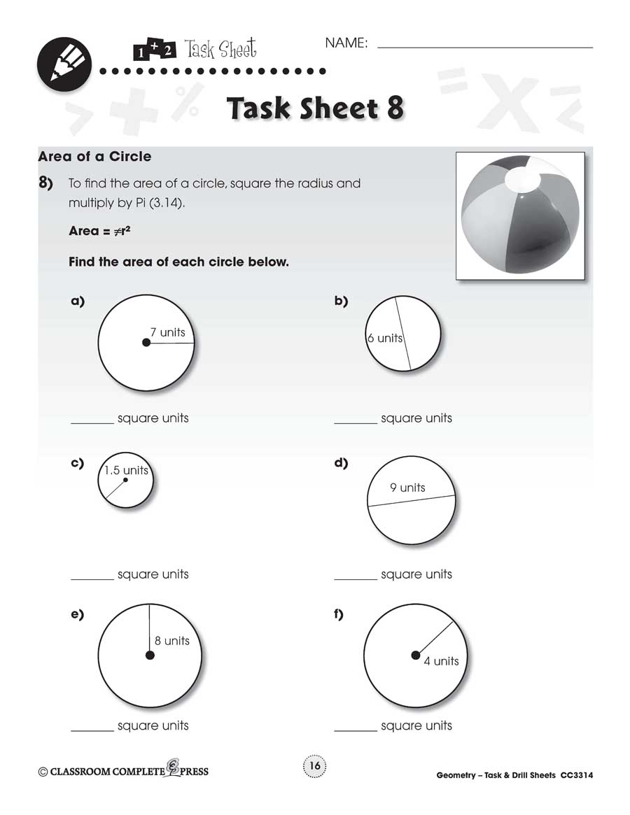hight resolution of Geometry Task \u0026 Drill Sheets: Area of a Circle - WORKSHEET - Grades 6 to 8  - eBook - Worksheets - CCP Interactive