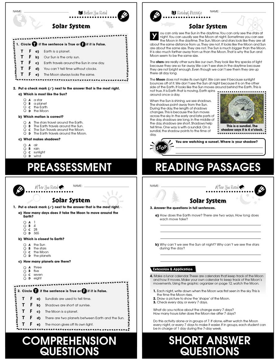hight resolution of Hands-On - Earth \u0026 Space Science: Solar System Gr. 1-5 - Grades 1 to 5 -  Lesson Plan - Worksheets - CCP Interactive