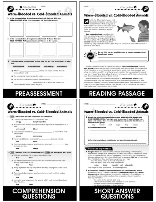 small resolution of Classification \u0026 Adaptation: Warm-Blooded Animals vs. Cold-Blooded Animals  Gr. 5-8 - Grades 5 to 8 - Lesson Plan - Worksheets - CCP Interactive