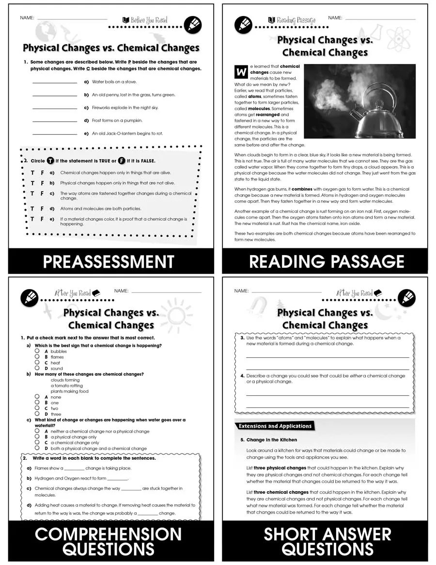 hight resolution of Properties of Matter: Physical Changes vs. Chemical Changes Gr. 5-8 -  Grades 5 to 8 - Lesson Plan - Worksheets - CCP Interactive