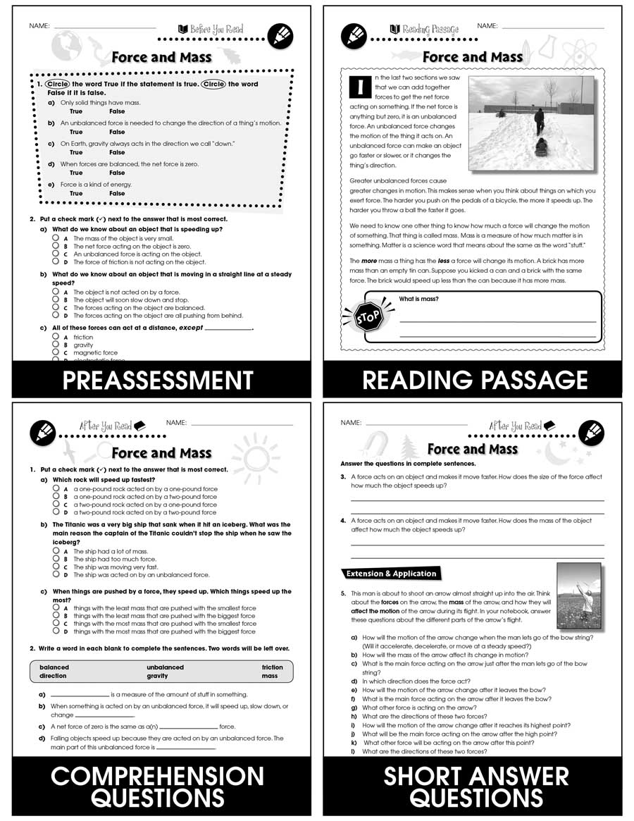 medium resolution of Force: Force \u0026 Mass Gr. 5-8 - Grades 5 to 8 - Lesson Plan - Worksheets -  CCP Interactive