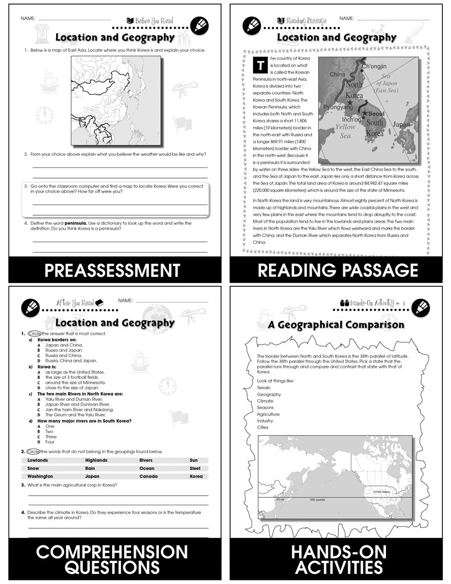hight resolution of Korean War: Location and Geography Gr. 5-8 - Grades 5 to 8 - Lesson Plan -  Worksheets - CCP Interactive