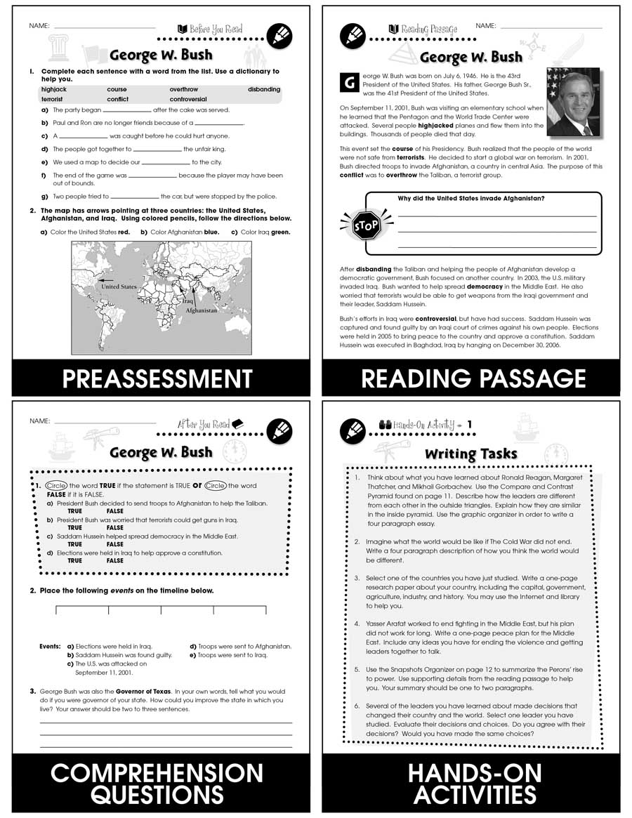 medium resolution of World Political Leaders: George W. Bush (United States) Gr. 5-8 - Grades 5  to 8 - Lesson Plan - Worksheets - CCP Interactive