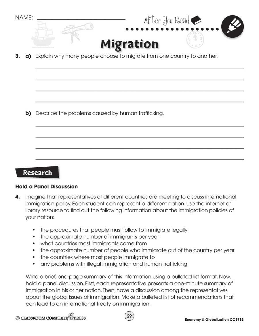 medium resolution of Economy \u0026 Globalization: Human Migration - WORKSHEETS - Grades 5 to 8 -  eBook - Worksheets - CCP Interactive