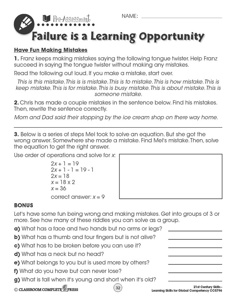 hight resolution of Learning Skills for Global Competency: Have Fun Making Mistakes - WORKSHEETS  - Grades 3 to 12 - eBook - Worksheets - CCP Interactive