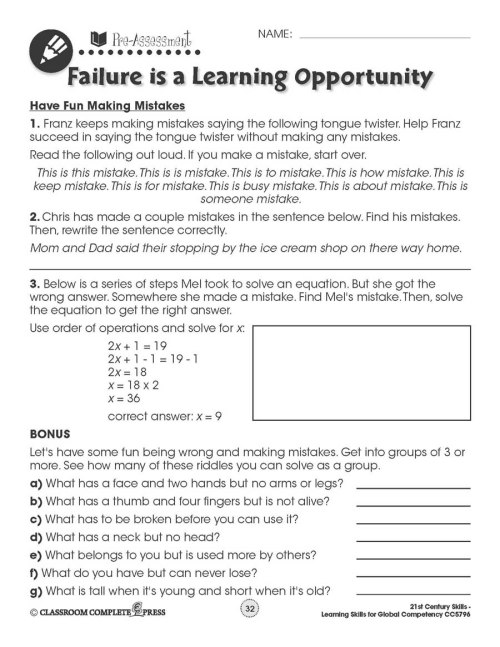 small resolution of Learning Skills for Global Competency: Have Fun Making Mistakes - WORKSHEETS  - Grades 3 to 12 - eBook - Worksheets - CCP Interactive