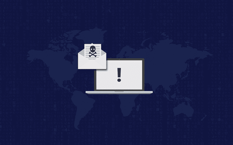 email with skull graphic invading computer