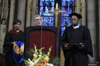 U.S. Rep. John Lewis, D-Georgia, addresses the class of 2017 at the Bank Street Graduate School of Education commencement ceremony on May 11, 2017 at Riverside Church in New York City. ÒWhen you see something that is not right, not fair, not just, you have an obligation, a mission, a mandate to stand up, to speak up. We need you now to lead us,Ó said Lewis in his keynote address. (Jon Simon/Feature Photo Service)