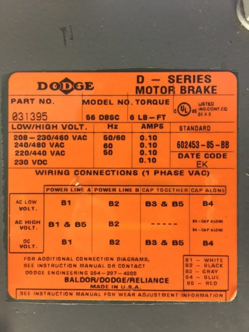 small resolution of reliance electric 1725 rpm p56h7214 electric brake motor