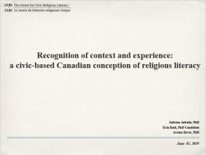 """Recognition of context and experience."" An academic presentation at the Canadian Society for Study in Religion,"