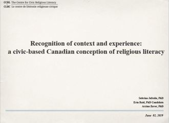 """""""Recognition of context and experience."""" An academic presentation at the Canadian Society for Study in Religion,"""