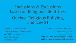 """Inclusions & Exclusions based on Religious Identities."" Online guest lecture, Wilfrid Laurier University"