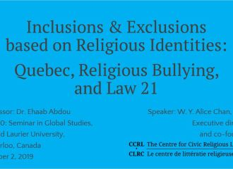 """""""Inclusions & Exclusions based on Religious Identities."""" Online guest lecture, Wilfrid Laurier University"""