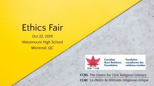 """Ethics fair"" workshops at Westmount High school, Montreal"