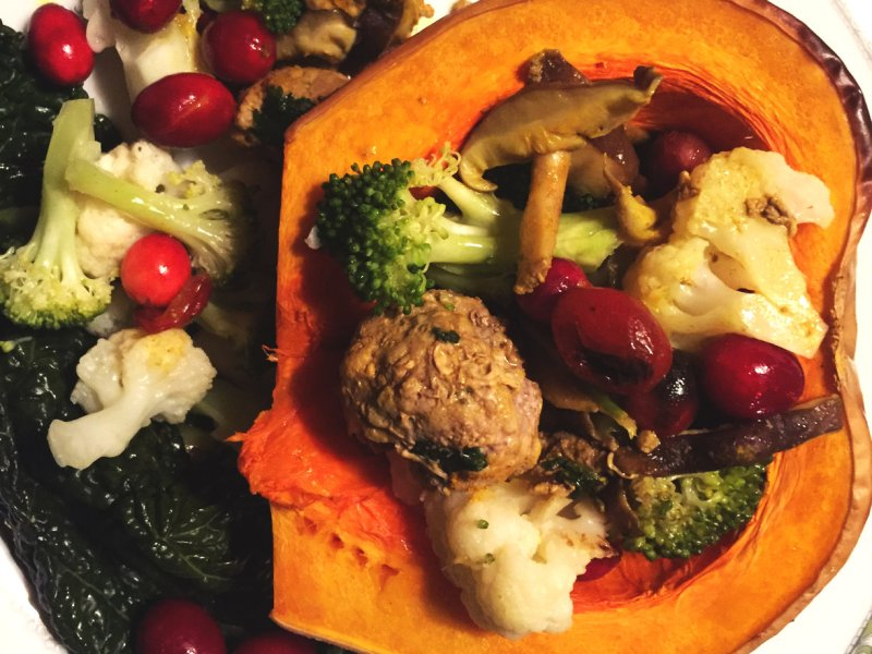Butternut squash stuffed with vegetables