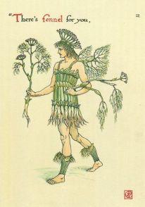 Walter Crane illustration of a man wearing fennel