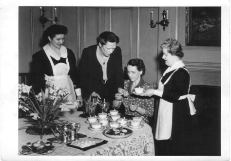 Theological education isn't all a tea party. (Gertrude Rutherford, Edith MacDonald, and ? of the United Church Training School in 1943)
