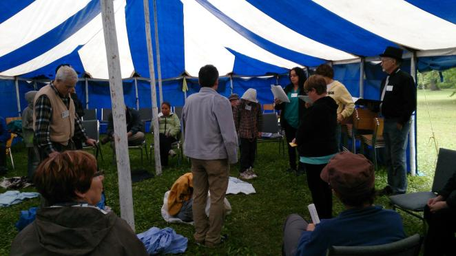 blanket exercise in a tent