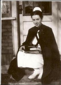 Mary in nurse's uniform