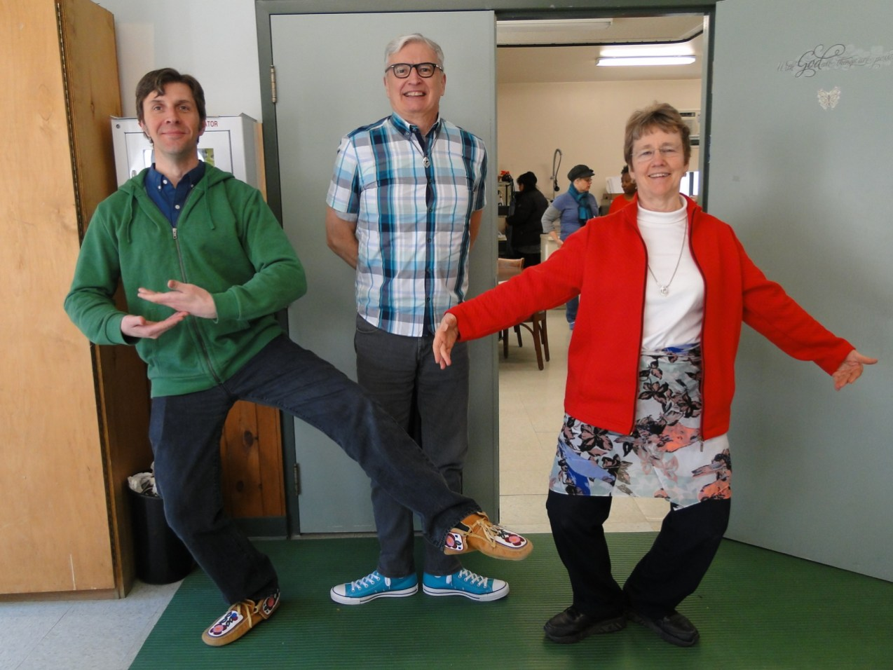 Scott, Ted, and Maylanne show off their balletic skills