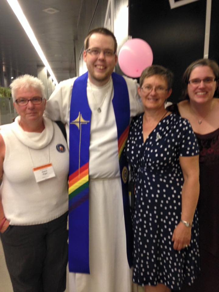 Newly commissioned Mark Laird with Deb Kigar, Terrie Chedore, and Marcie Gibson