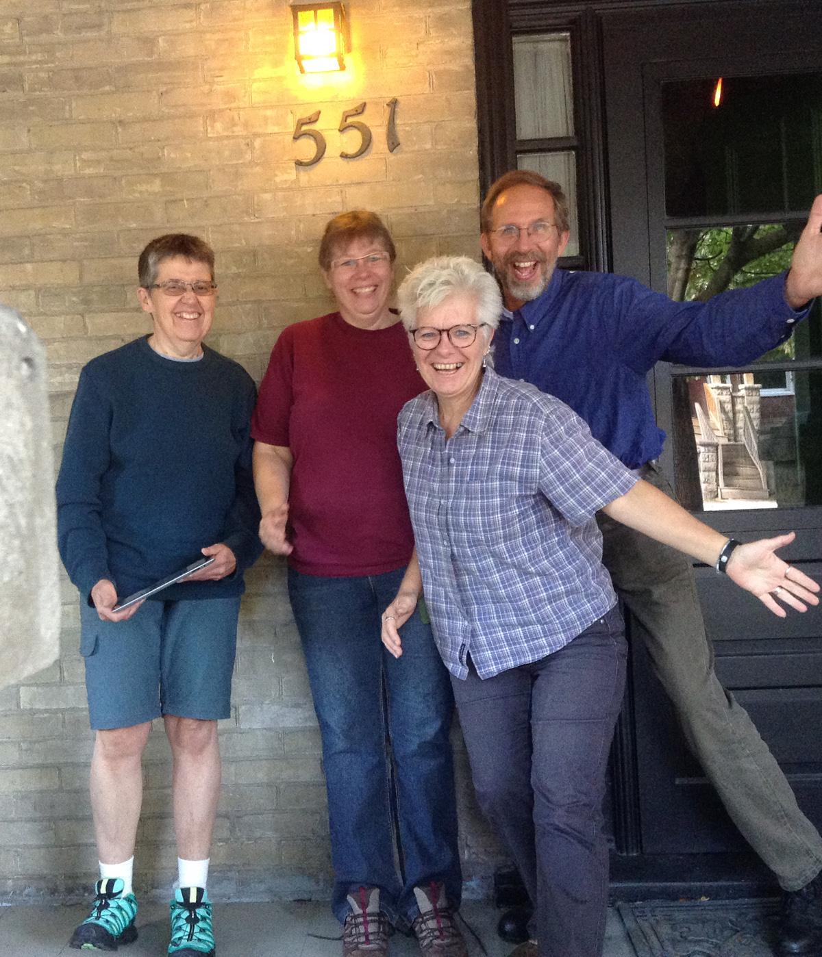 Ann, Jackie, Lynn, and Hubert at Bedford House