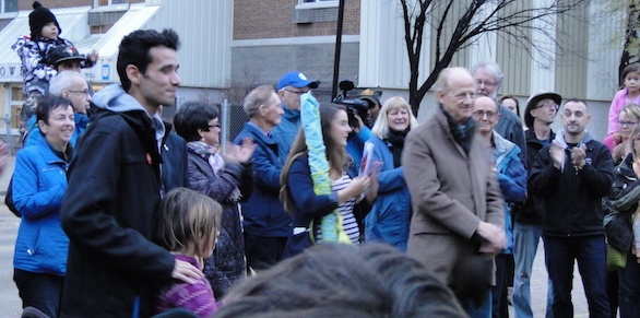 Michael Champagne, organizer of Meet Me @ The Bell Tower (John Ralston Saul at the right)