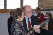 Principal Maylanne Maybee going over details with Companion of the Centre Jim Boyles