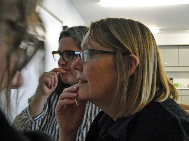 Marcie and Jamie thoughtfully pondering the future of CCS's program.