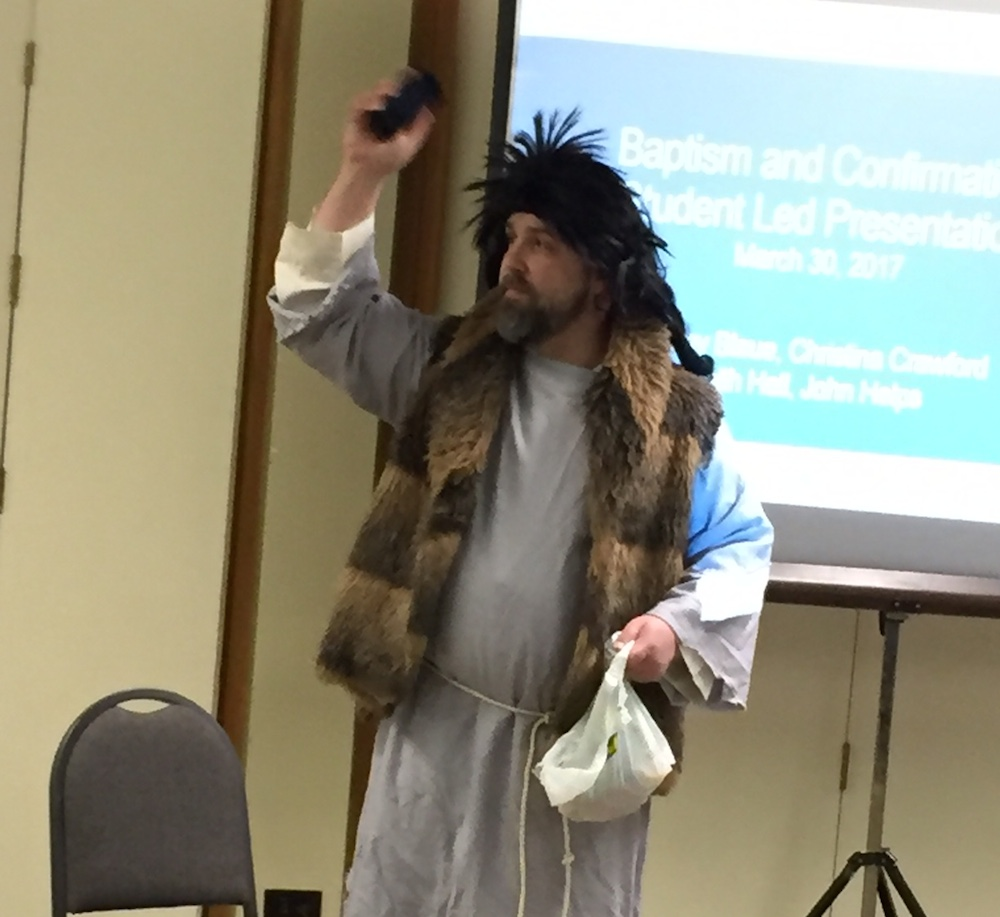 John the Baptist introduces a session on baptism