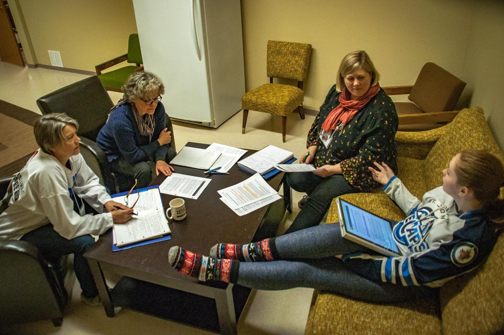 Kim, Barb, Karlene and Rebecca theologize.