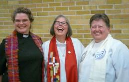 Michelle Owens (L) and Deborah Deavu (R) celebrate with Anita Rowland