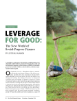 Leverage for Good: The New World of Social Purpose Finance, World Financial Review (November/December 2014)
