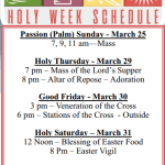 Holy Week and Easter Mass Schedule
