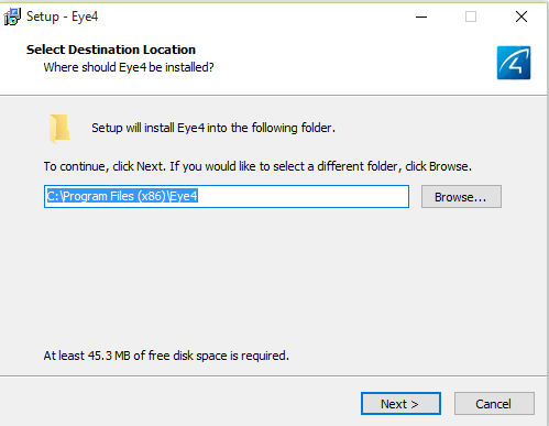 Select installation directory for the software