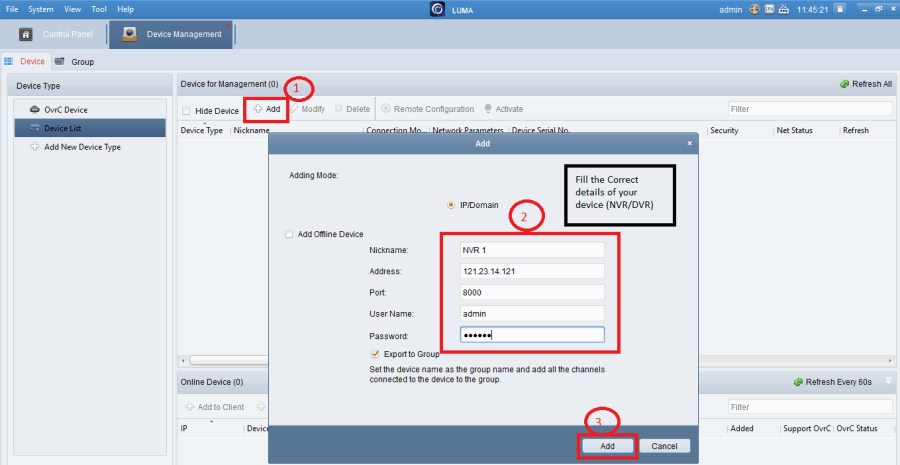 Add devices on the VMS