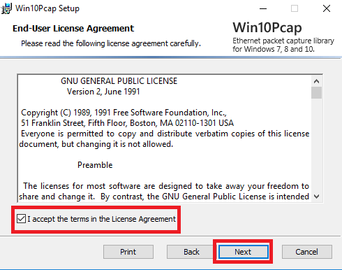 License agreement of the app