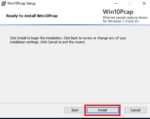 Start the installation of Win10Pcap