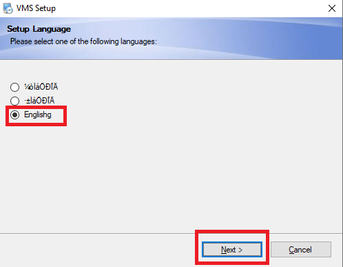 Select the language for application