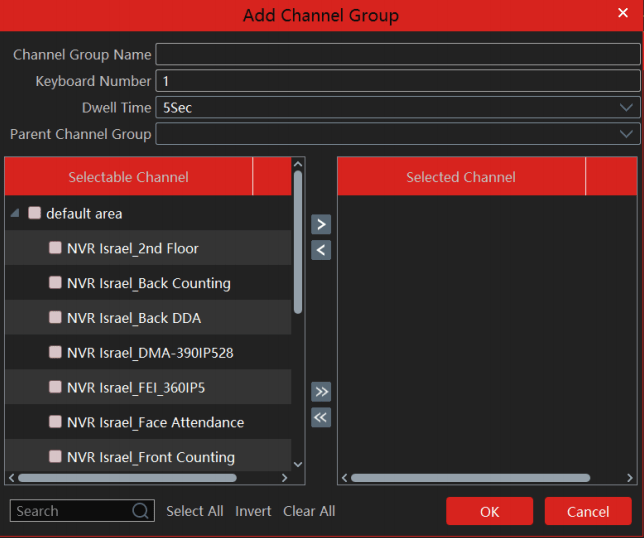 Channel group setting on the application