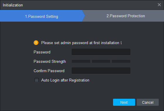 Create a password for logging in
