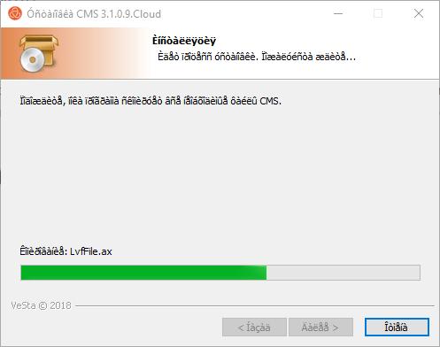 Installation progress of the application