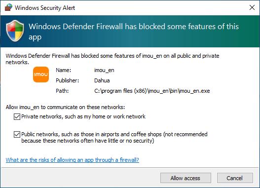 Allow access from Windows firewall
