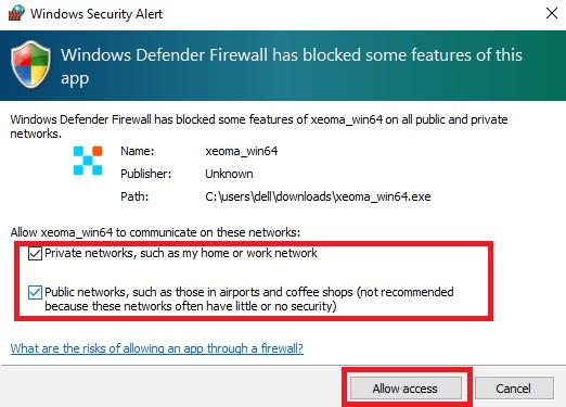 Windows Firewall alert