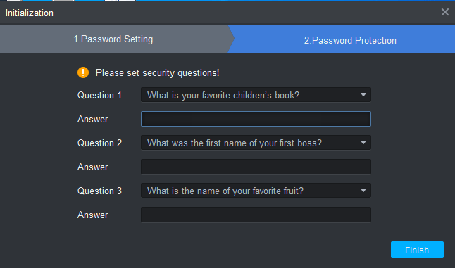 Fill the security question's answers