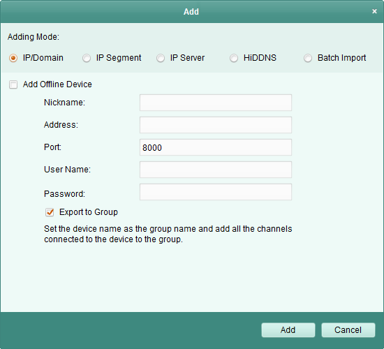 Add device to the software