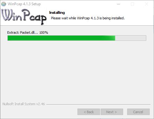 Progress of WinpCap installation