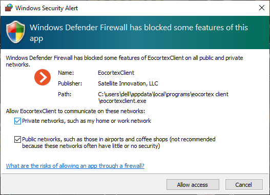 Allow firewall access to VMS app