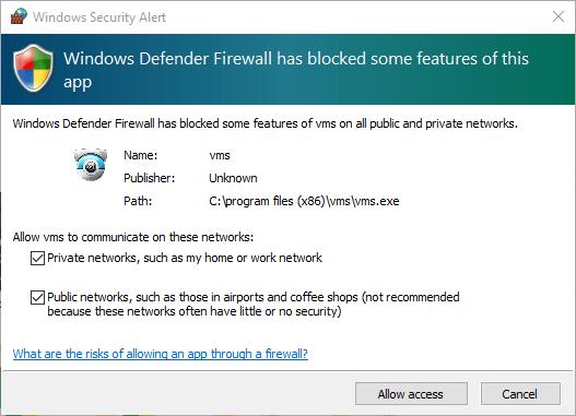 Windows firewall access for HeimLink app.