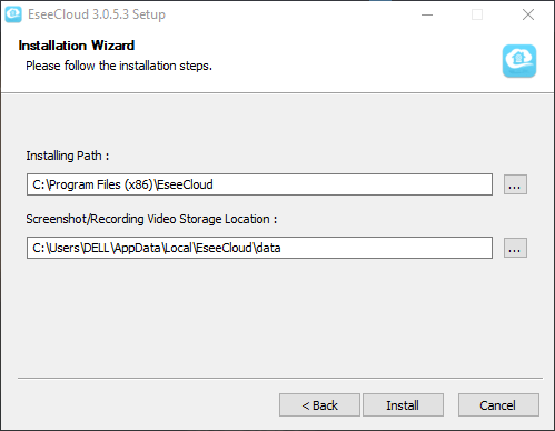 Provide directory to install the software